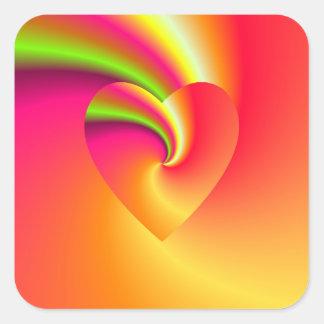 Sticker Carré Coeur d'amour de remous d'arc-en-ciel