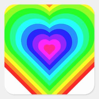 Sticker Carré Coeur d'arc-en-ciel