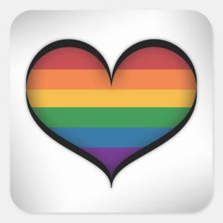 Sticker Carré Coeur d'arc-en-ciel de LGBT