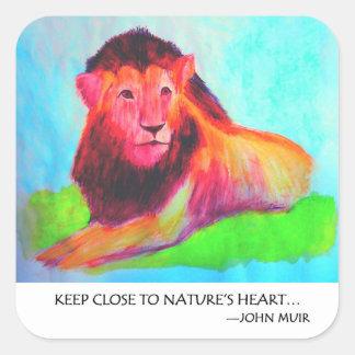 Sticker Carré Coeur de lion - conservation John Muir d'animal