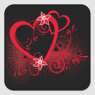 Sticker Carré Coeur rouge sur fond noir -