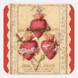 Sticker Carré Coeurs de Jésus et Mary et St Joseph