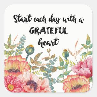 Sticker Carré Commencez chaque jour avec un coeur reconnaissant
