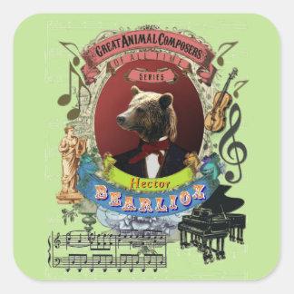 Sticker Carré Compositeur animal drôle Berlioz d'ours de