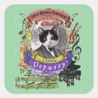 Sticker Carré Compositeurs mignons d'animal de chat de Claude
