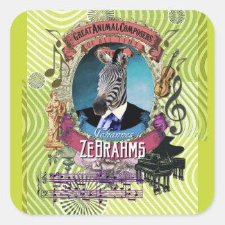 Sticker Carré Compositeurs mignons d'animal de zèbre de Johannes