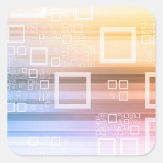 Sticker Carré Concept du trafic de train de données de données