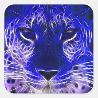 Sticker Carré conception bleue de fractale de guépard