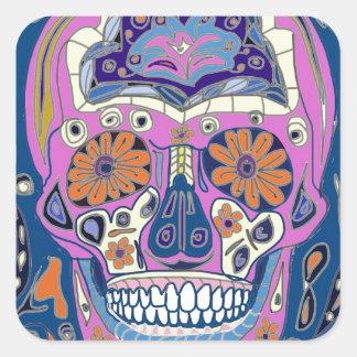 Sticker Carré Conception de crâne de sucre