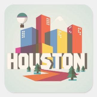 Sticker Carré Conception de Houston, paysage urbain du Texas |
