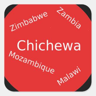 Sticker Carré Conception de langue de Chichewa