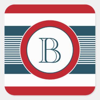 Sticker Carré Conception de monogramme