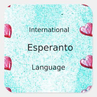 Sticker Carré Conception internationale de langue d'espéranto