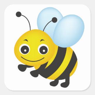 Sticker Carré Conception mignonne d'abeille