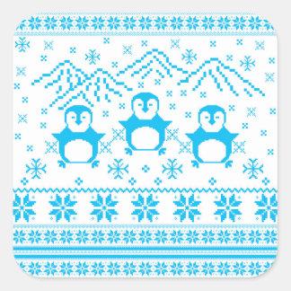 Sticker Carré Conception scandinave bleue mignonne de vacances