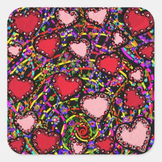 Sticker Carré Conceptions de coeur de Valentine