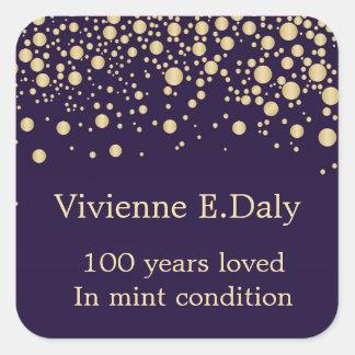 Sticker Carré Confettis d'or sur l'anniversaire du pourpre 100