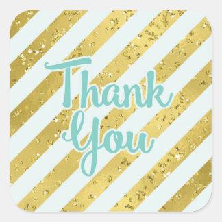 Sticker Carré Confettis et aluminium d'or avec le Merci