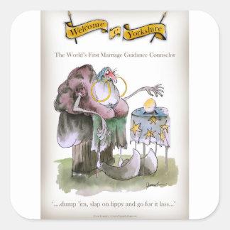 Sticker Carré Conseils de mariage de Yorkshire d'amour