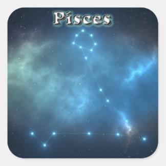 Sticker Carré Constellation de Poissons