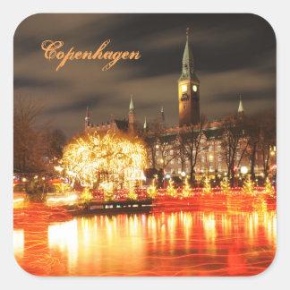 Sticker Carré Copenhague, Danemark à Noël