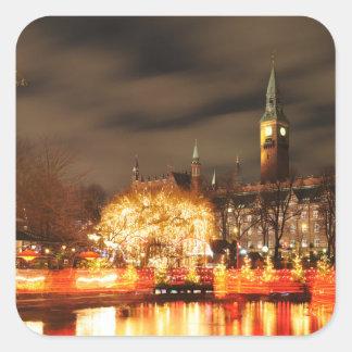 Sticker Carré Copenhague, Danemark la nuit