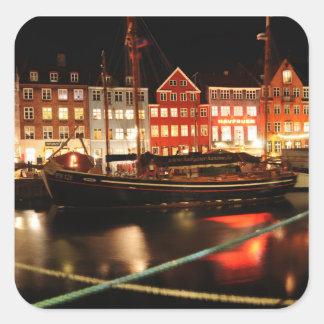 Sticker Carré Copenhague la nuit
