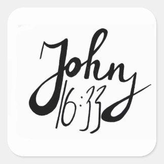 Sticker Carré Copie biblique de citation de 16h33 de John