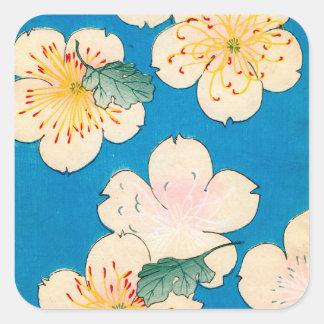 Sticker Carré Copie de bois de graveur de couleur des fleurs de