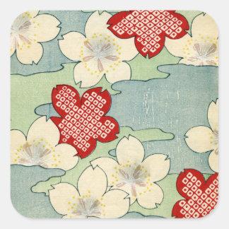 Sticker Carré Copie de bois de graveur des fleurs de cornouiller