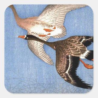Sticker Carré Copie vintage des oies de vol