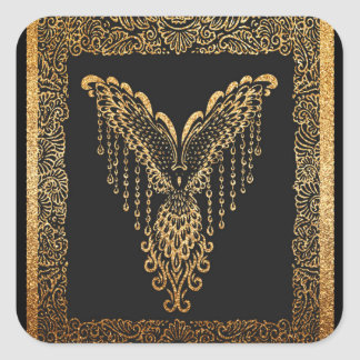 Sticker Carré Corbeau d'or