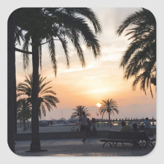 Sticker Carré Coucher du soleil