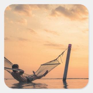 Sticker Carré Coucher du soleil de Bali