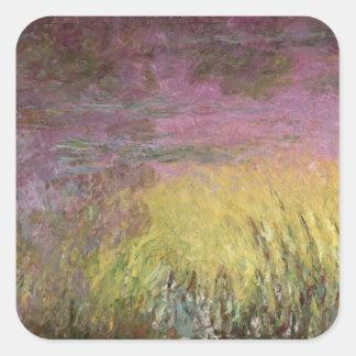 Sticker Carré Coucher du soleil de nénuphars de Claude Monet |,