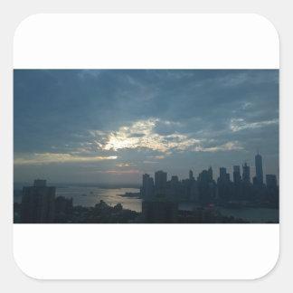 Sticker Carré Coucher du soleil Manhattan1