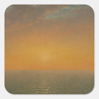 Sticker Carré Coucher du soleil sur la mer