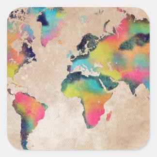 Sticker Carré couleurs de carte du monde
