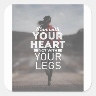 Sticker Carré Courez avec votre coeur