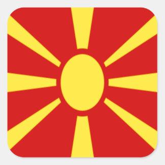 Sticker Carré Coût bas ! Drapeau de Macédoine