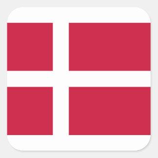 Sticker Carré Coût bas ! Drapeau du Danemark