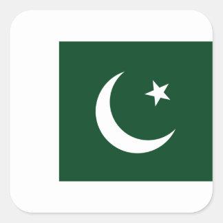 Sticker Carré Coût bas ! Drapeau du Pakistan