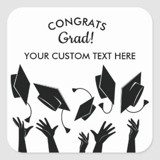 Sticker Carré Coutume de diplômé de Congrats de lancer de