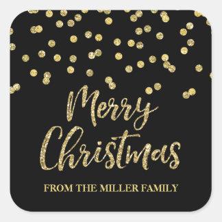 Sticker Carré Coutume de Joyeux Noël de confettis de