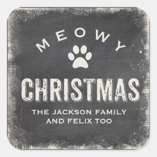 Sticker Carré Coutume drôle de patte de chat de Joyeux Noël de