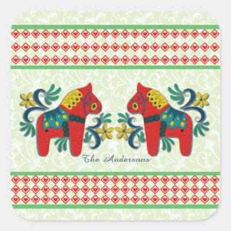 Sticker Carré Coutume jumelle colorée de Noël de chevaux de Dala