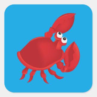 Sticker Carré Crabe de bande dessinée