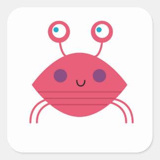 Sticker Carré Crabe rose sur le blanc
