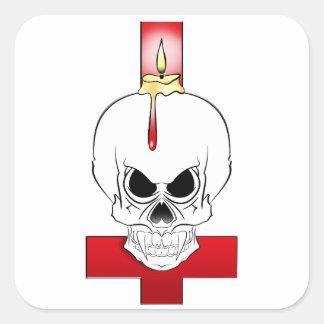 Sticker Carré Crane à la bougie et la croix renversée