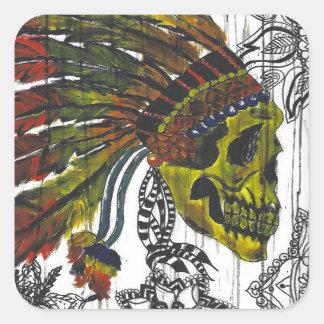 Sticker Carré Crâne de coiffe